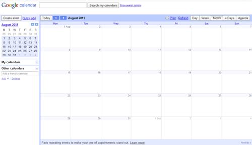 Blank Google Calendar : Forza garibaldi